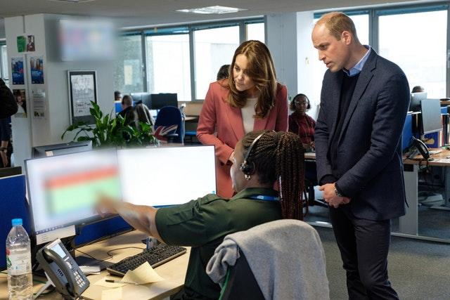 William and Kate during a visit to a London Ambulance Service 111 control room