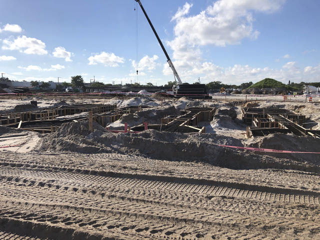 This Monday, Oct. 21, 2019, photo shows construction continuing at the stadium site for David Beckham's MLS soccer team that will debut in 2020 at the site of the former Lockhart Stadium in Fort Lauderdale, Fla. (AP Photo/Tim Reynolds)