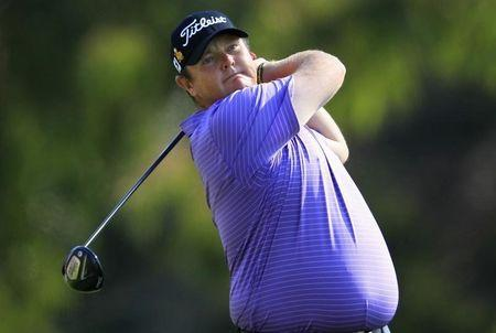 Jarrod Lyle of Australia tees off on the second hole during the final round of the Northern Trust Open golf tournament at Riviera Country Club in Los Angeles