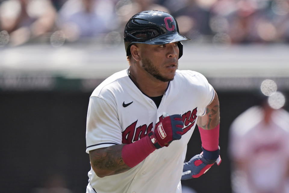 Cleveland Indians' Harold Ramirez runs out an RBI-single in the eighth inning of a baseball game against the Tampa Bay Rays, Sunday, July 25, 2021, in Cleveland. The Indians won 3-2. (AP Photo/Tony Dejak)