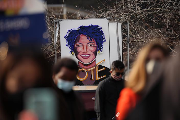 "A ""Vote"" sign at a rally in Lilburn, Ga. (Spencer Platt/Getty Images)"