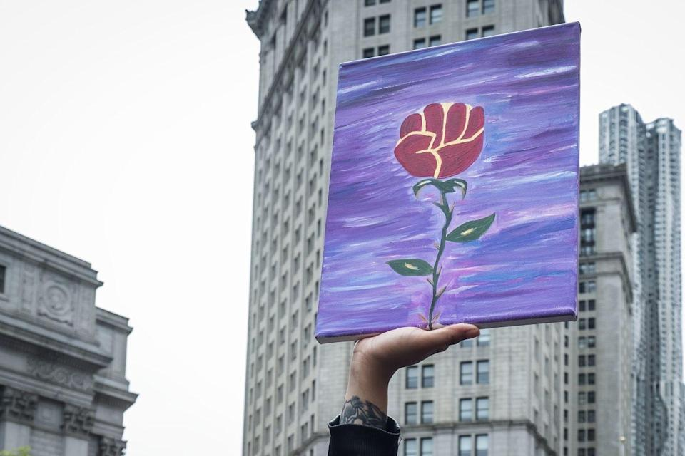<p>A wordless painting saying a thousand words: A closed fist, a sign of support and resistance, that turns into a rose.</p>