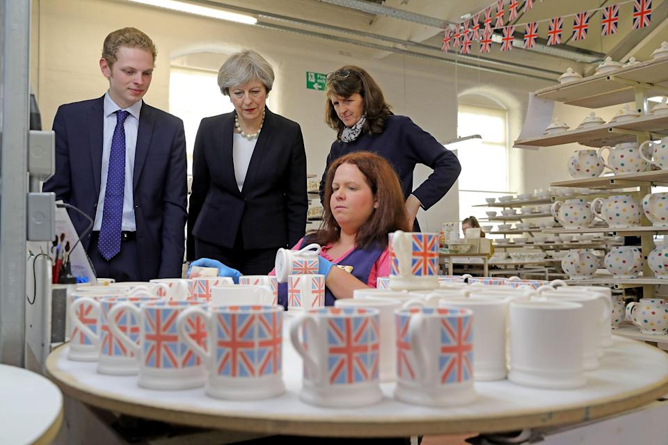 British prime minister Theresa May during a tour of the Emma Bridgewater pottery factory in Stoke. Photo: Christopher Furlong/PA Archive/PA Images
