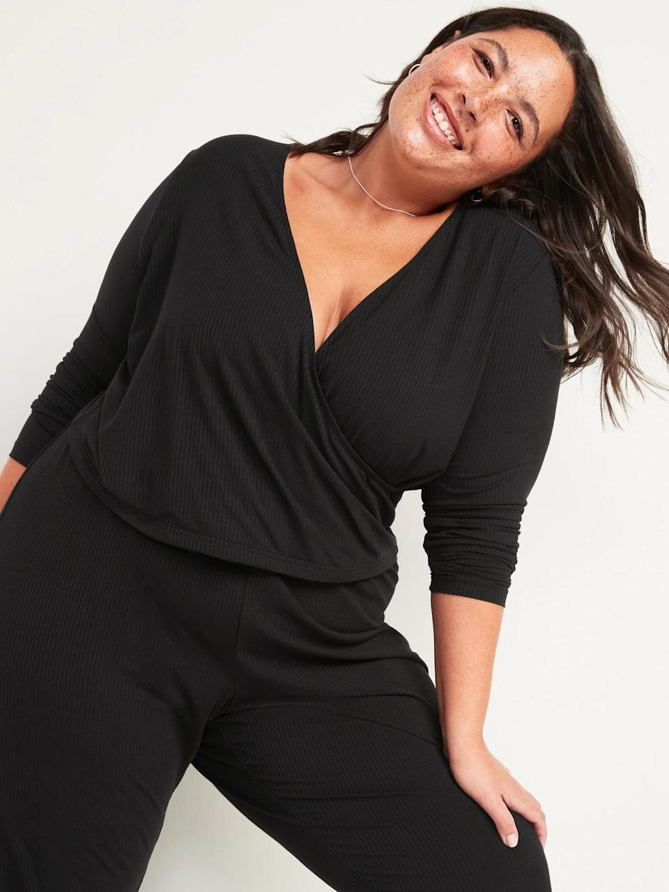 <p>This <span>Old Navy Sunday Sleep Rib-Knit Faux-Wrap Pajama Top</span> ($25) is what we'd like to coin as elevated loungewear. It's more pulled together than an old t-shirt, but feels so comfortable. Pair it with the matching <span>Mid-Rise Sunday Sleep Ribbed Pajama Pants</span> ($25).</p>