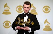 """<p>In his acceptance speech for <a href=""""https://www.youtube.com/watch?v=aA5qp0r3dEc"""" rel=""""nofollow noopener"""" target=""""_blank"""" data-ylk=""""slk:Record of the Year"""" class=""""link rapid-noclick-resp"""">Record of the Year</a> for 'Stay With Me' at the 57th Grammy Awards, Sam thanked his ex-boyfriend, actor and model Jonathan Zeizel. </p><p>'Just a quick one. I want to thank the man who this record is about, who I fell in love with last year. Thank you so much for breaking my heart because you got me four Grammys.'</p>"""