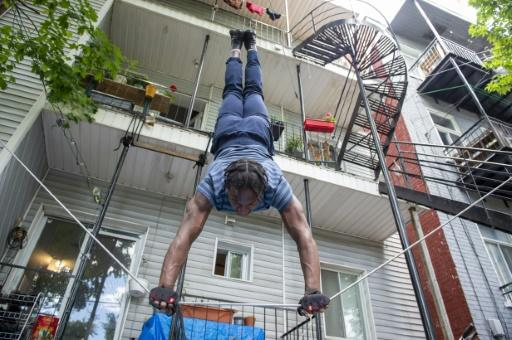 Antino Pansa, 20, trains in the courtyard of his apartment on June 6 in Montreal