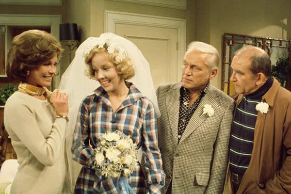 Ted and Georgette (The Mary Tyler Moore Show): After years of taking his girlfriend Georgette for granted, Ted Baxter finally goes through with one of his many engagements -- but only if the gang can orchestrate a wedding before he changes his mind. Luckily, TV magic ensures, and in only a few minutes, that the two tie the knot in Mary Richards' apartment, with Lou, Murray, and Sue Ann making up the attendees.