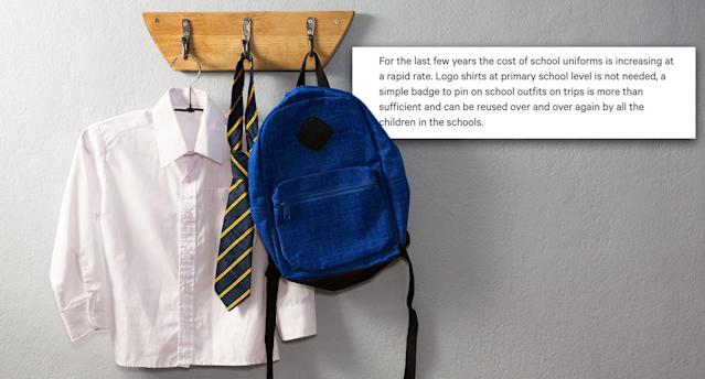 A single mother has bemoaned the rising cost of branded school uniform. [Photo: Getty/Change.org]