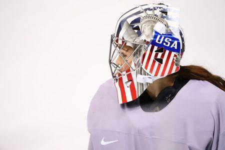 Feb 5, 2018; Gangneung, KOR; USA goalie Nicole Hensley (29) looks on during a training session for the PyeongChang 2018 Olympic Winter Games at Kwandong Hockey Centre. Mandatory Credit: Rob Schumacher-USA TODAY Sports