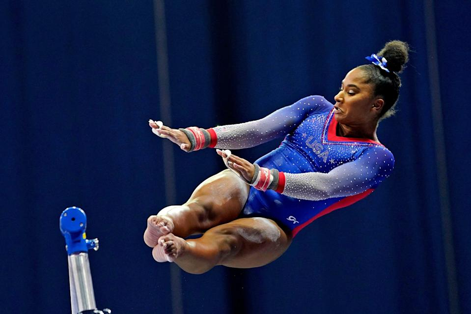 Jordan Chiles competes on the uneven bars during the U.S. Olympic Team Trials at The Dome at America's Center.