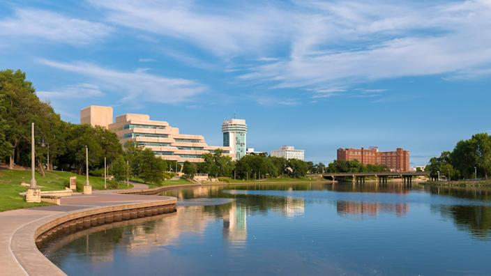The Arkansas River and downtown Wichita from Veterans Memorial Park at 339 Veterans Parkway in Wichita, Kansas on August 13, 2017.