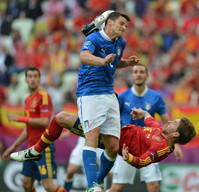 Spanish defender Raul Albiol vies with Spanish defender Sergio Ramos during the Euro 2012 championships football match Spain vs Italy on June 10, 2012 at the Gdansk Arena. AFP PHOTO / GABRIEL BOUYSGABRIEL BOUYS/AFP/GettyImages