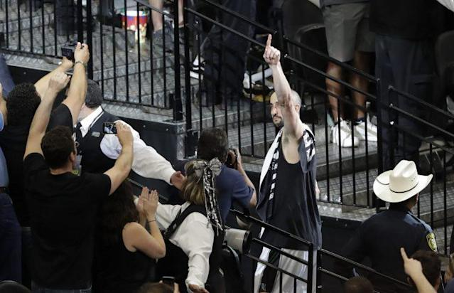 "<a class=""link rapid-noclick-resp"" href=""/nba/players/3380/"" data-ylk=""slk:Manu Ginobili"">Manu Ginobili</a>'s not done yet. (AP)"