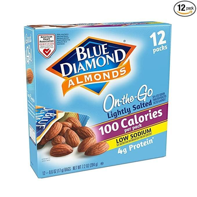 <p>These <span>Lightly Salted Blue Diamond Almonds</span> ($6 for 12) are a savory treat we can feel good about, and they're so easy to take on the go.</p>