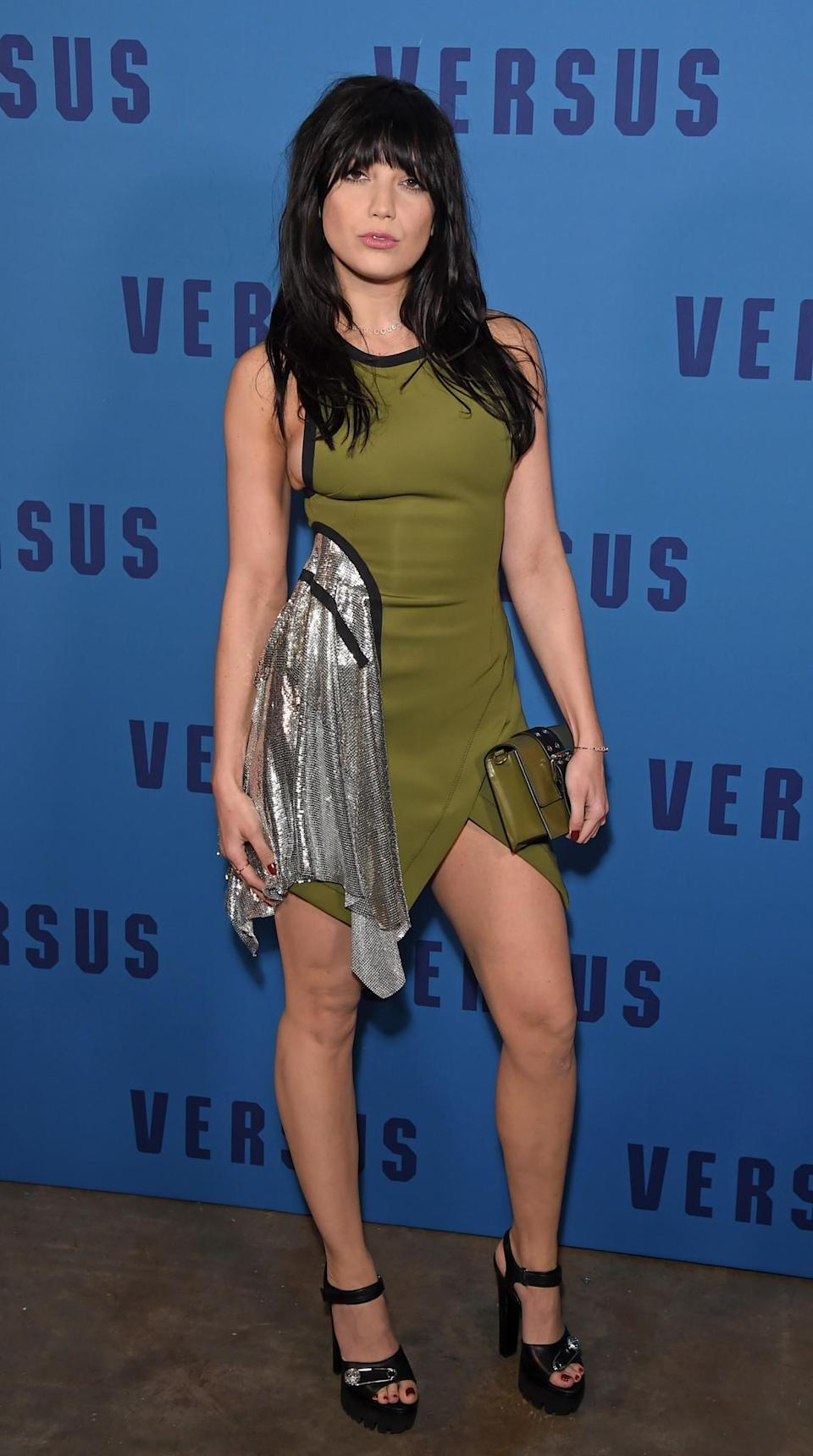 <p>Daisy Lowe wore a khaki and metal mesh dress by Versus. <i>[Photo: Getty]</i> </p>