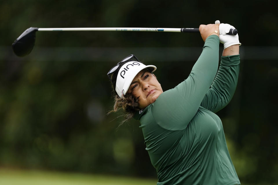 Lizette Salas hits from the tee on the ninth hole during the second round of play in the KPMG Women's PGA Championship golf tournament Friday, June 25, 2021, in Johns Creek, Ga. (AP Photo/John Bazemore)