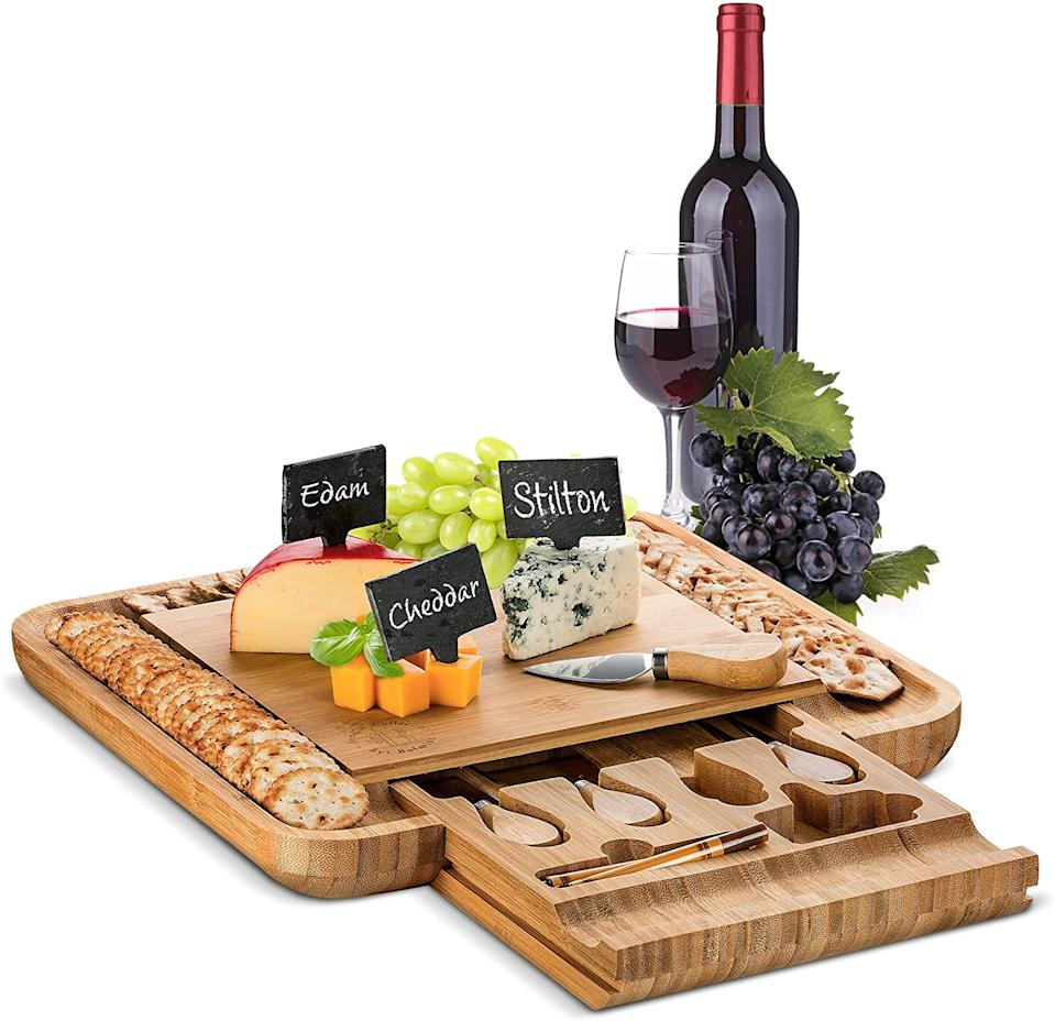 Bamboo Cheese Board with Cutlery Set  - Amazon, $70.