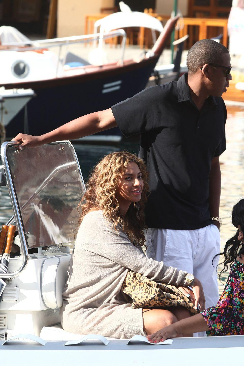 <p>Beyonce and Jay-Z on a boat during a vacation in Portofino, Italy.</p><p>Other celebrity visitors this year: Ryan Seacrest, Julianne Hough, Jessica Simpson, Heather Graham, Channing Tatum, Jenna Dewan.</p>
