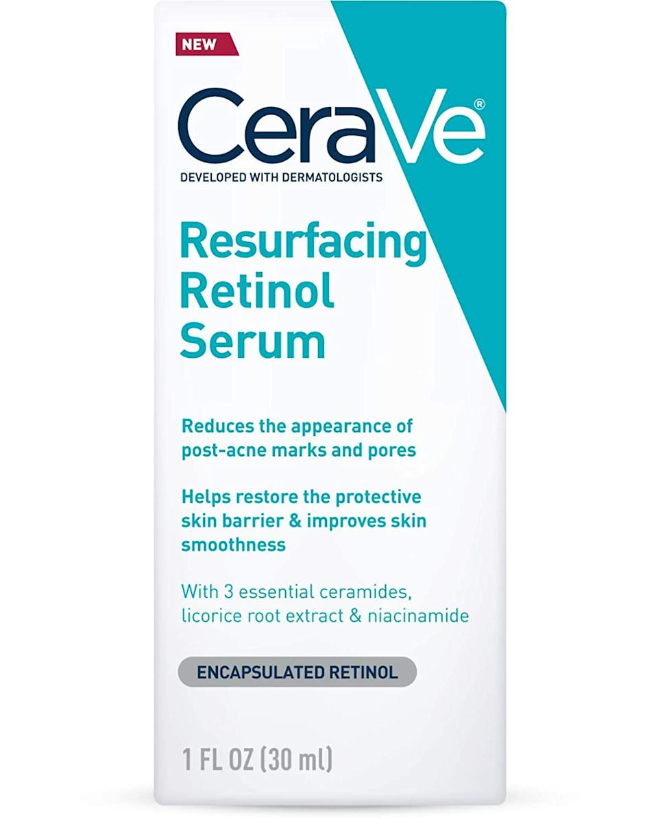 """<h3>CeraVe Resurfacing Retinol Serum</h3><br><strong>Paige</strong><br><br>""""For under $20, this stuff can't be beaten. I was nervous about trying a retinol, but I've found that this serum really helps clear my acne as well as any discoloration and scars.""""<br><br><strong>CeraVe</strong> Resurfacing Retinol Serum, $, available at <a href=""""https://amzn.to/2OK1uhB"""" rel=""""nofollow noopener"""" target=""""_blank"""" data-ylk=""""slk:Amazon"""" class=""""link rapid-noclick-resp"""">Amazon</a>"""