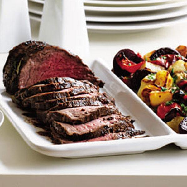 Spiced beef with roasted vegetables