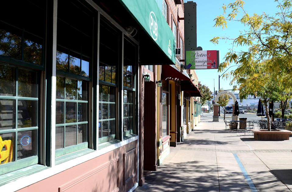 An image showing several small mom and pop shops lining Victorian Plaza in downtown Sparks on Friday, Oct. 24. A group of local business owners, known as 39 North Downtown, hope to revitalize Sparks and attract new businesses to the area.