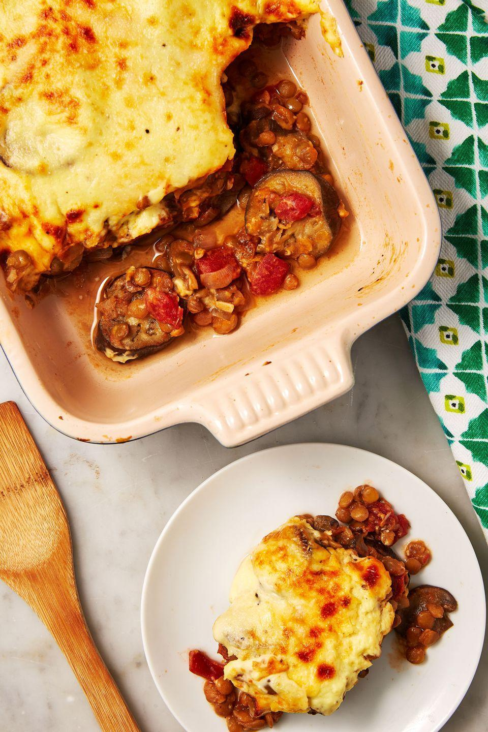 """<p>This veggie-packed Greek classic is topped with a Parmesan-laden sauce before baked.</p><p>Get the recipe from <a href=""""https://www.delish.com/cooking/recipe-ideas/a30876085/vegetarian-moussaka-recipe/"""" rel=""""nofollow noopener"""" target=""""_blank"""" data-ylk=""""slk:Delish."""" class=""""link rapid-noclick-resp"""">Delish.</a></p>"""
