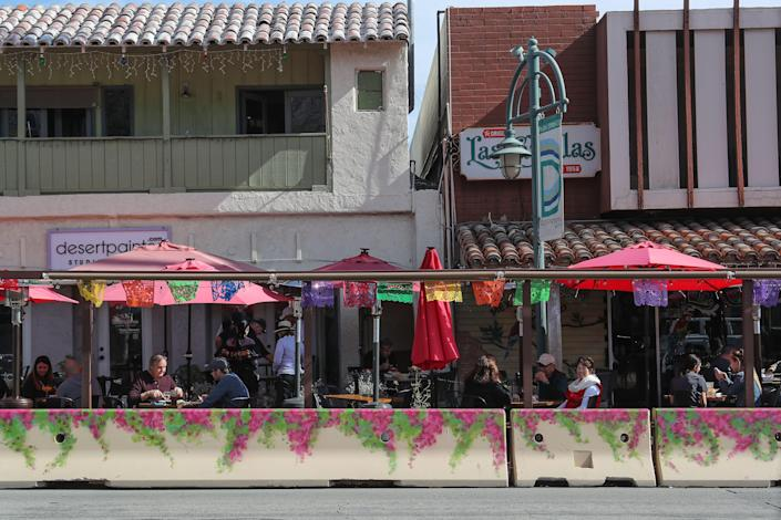 Outdoor diners enjoy the nice weather while dining at the Original Las Casuelas in Palm Springs, January 28, 2021.