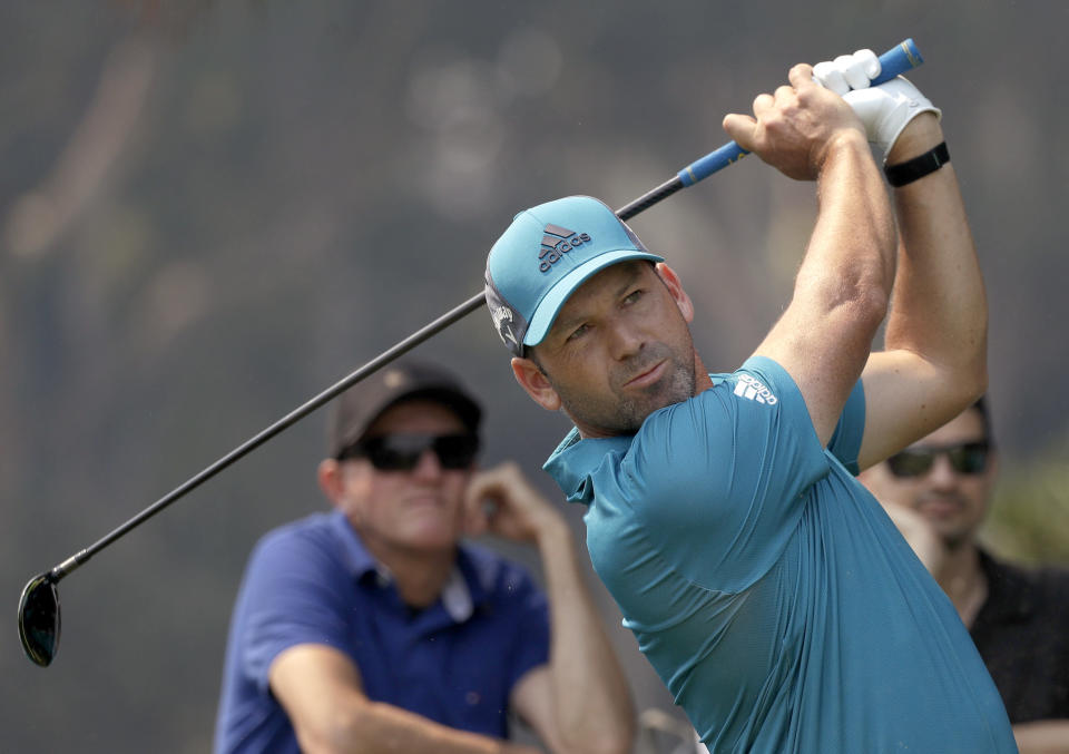 Spain's Sergio Garcia tees off on the 13th hole during the Australian Open Golf Pro-AM in Sydney, Wednesday, Dec. 4, 2019. The Australian Open begins Thursday. (AP Photo/Rick Rycroft)
