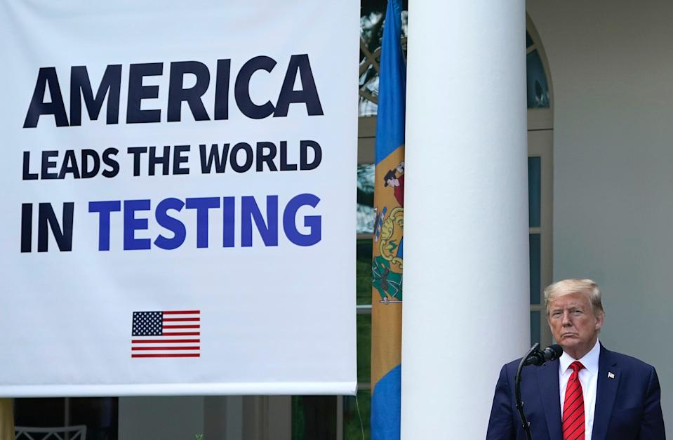 President Donald Trump holds a press briefing about coronavirus testing in the Rose Garden of the White House on May 11, 2020 in Washington, DC.