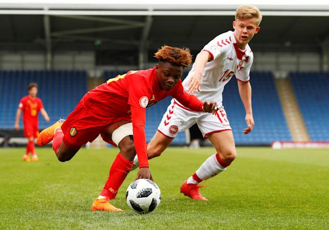 Soccer Football - UEFA European Under-17 Championship - Group C - Belgium v Denmark - Proact Stadium, Chesterfield, Britain - May 11, 2018 Belgium's Largie Ramazani in action with Denmark's Thomas Gundelund Nielsen Action Images via Reuters/Jason Cairnduff