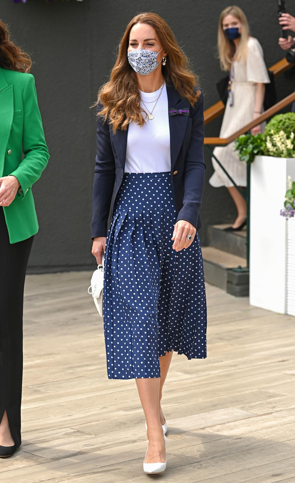 LONDON, ENGLAND - JULY 02: Catherine, Duchess of Cambridge attends Wimbledon Championships Tennis Tournament at All England Lawn Tennis and Croquet Club on July 02, 2021 in London, England. (Photo by Karwai Tang/WireImage)