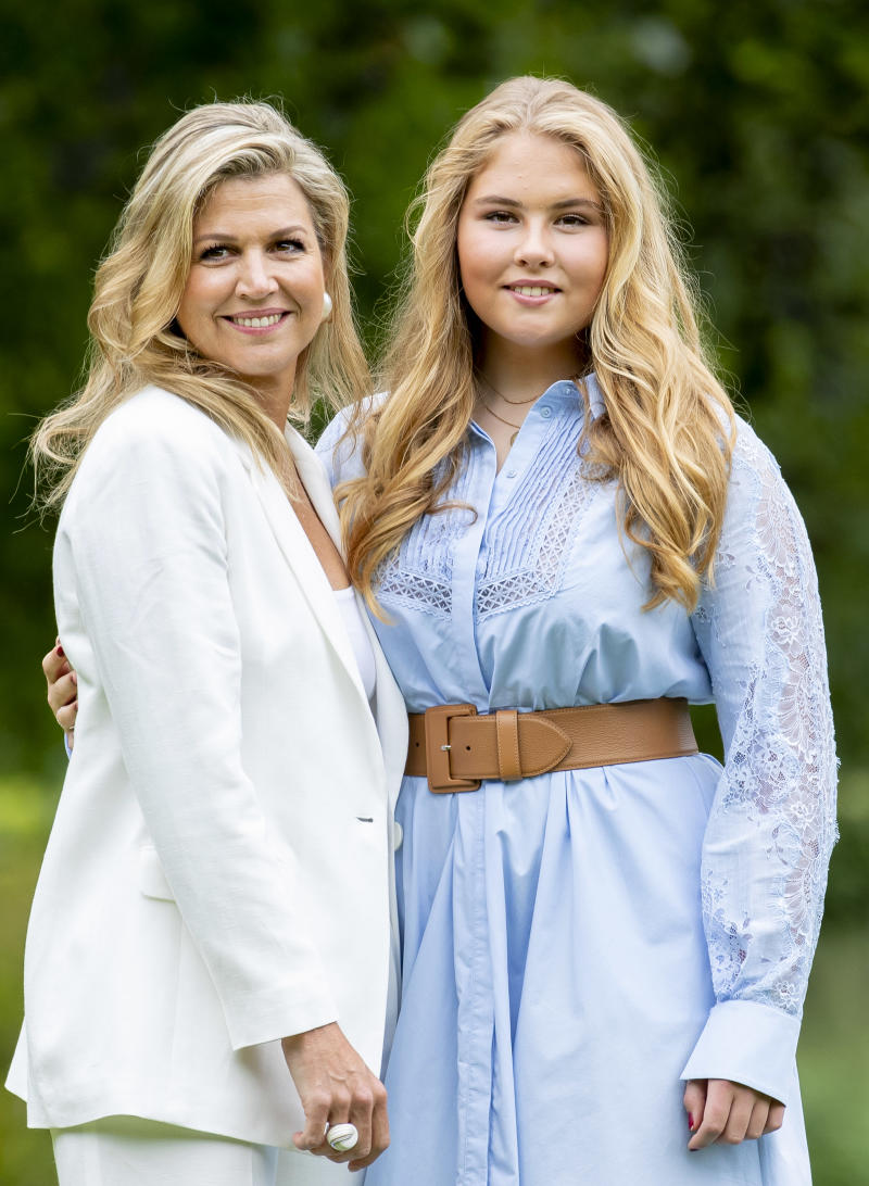 Queen Maxima of The Netherlands and Princess Amalia of The Netherlands during the annual summer photocall