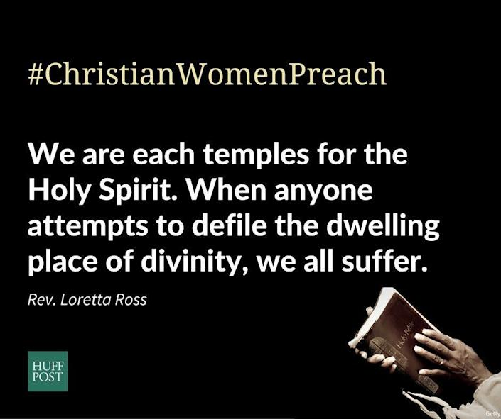 """""""I signed in order to stand in solidarity with my sisters in our shared faith in a loving God. <strong>We are each temples for the Holy Spirit. When anyone attempts to defile the dwelling place of divinity, we all suffer </strong>...&nbsp;Recently, I had felt overwhelmed and deeply burdened by the implications of Trump's behavior. Standing up for goodness, truth, and justice gives me inner strength and peace for the work ahead in these times. I too, as well as my daughters, have been victims of sexual violence and abuse.""""<br>-&nbsp;Rev. Loretta Ross, The Sanctuary Foundation for Prayer"""