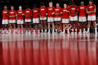 <p>Team United States of America stands for the National Anthem before the start of a Women's Basketball Semifinals game between Team United States and Team Serbia on day fourteen of the Tokyo 2020 Olympic Games at Saitama Super Arena on August 06, 2021 in Saitama, Japan. (Photo by Kevin C. Cox/Getty Images)</p>
