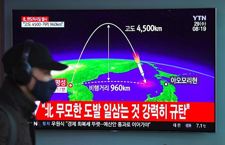 The trilateral drill comes less than two weeks after Pyongyang test-fired a new intercontinental ballistic missile (ICBM) and declared it had achieved nuclear statehood, escalating global alarm over its weapons push (AFP Photo/JUNG Yeon-Je)