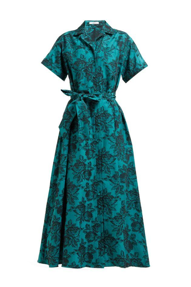 """<p>A floral jacquard midi dress by Erdem—a fixture of London Fashion Week—mirrors the polished elegance of the '50s. </p><p><em>Cypress belted floral-jacquard midi shirtdress, $2,080</em></p><a class=""""body-btn-link"""" href=""""https://go.redirectingat.com?id=74968X1596630&url=https%3A%2F%2Fwww.matchesfashion.com%2Fus%2Fproducts%2FErdem-Cypress-belted-floral-jacquard-midi-shirtdress-1287224&sref=http%3A%2F%2Fwww.crfashionbook.com%2Ffashion%2Fg28196681%2Fwhat-to-wear-when-london-west-end-shopping-district%2F"""" target=""""_blank"""">SHOP</a>"""