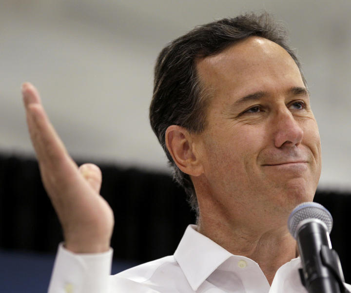 "Republican presidential candidate and former Pennsylvania Sen. Rick Santorum talks to supporters gathered at a Springfield, Mo., rally Saturday, March 10, 2012, after winning the Kansas caucuses in a rout. ""Things have an amazing way of working out,'' Santorum said Saturday. (AP Photo/Charlie Riedel)"