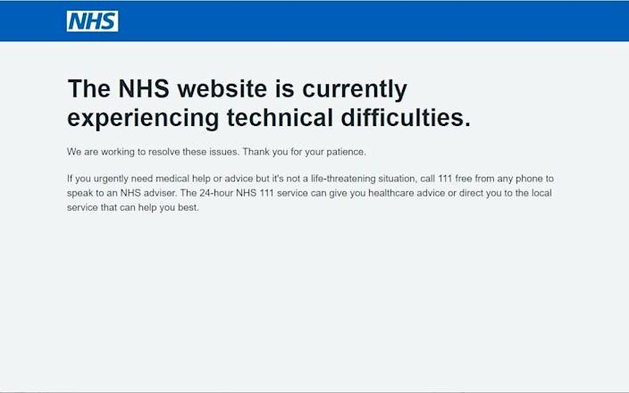 Screengrab of the NHS website for booking vaccination appointments when it crashed on Tuesday morning - PA