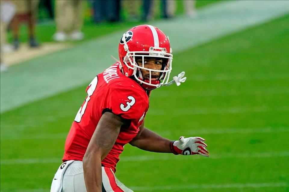 Georgia defensive back Tyson Campbell (3) covers a play against Florida during the first half of an NCAA college football game, Saturday, Nov. 7, 2020, in Jacksonville, Fla. (AP Photo/John Raoux)