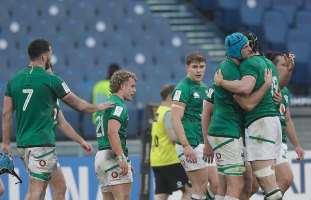 Craig Casey (second left) in action for Ireland