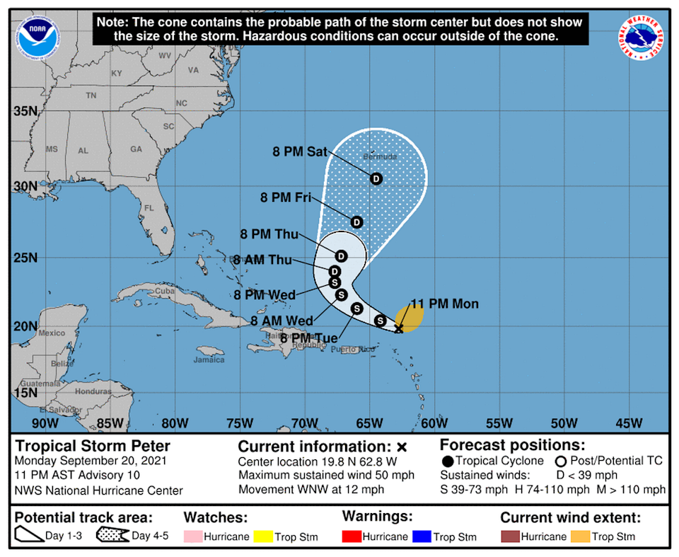 Peter was moving toward the west-northwest near 12 mph with maximum sustained winds near 50 mph with higher gusts.