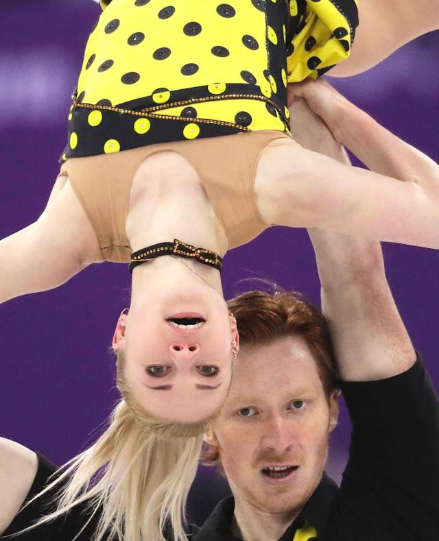 <p>Evgenia Tarasova and Vladimir Morozov of the Olympic Athletes of Russia perform in the pairs free skate figure skating final in the Gangneung Ice Arena at the 2018 Winter Olympics in Gangneung, South Korea, Thursday, Feb. 15, 2018. (AP Photo/Bernat Armangue) </p>