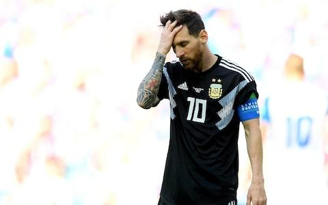 Lionel Messi reacts - Credit: Getty images