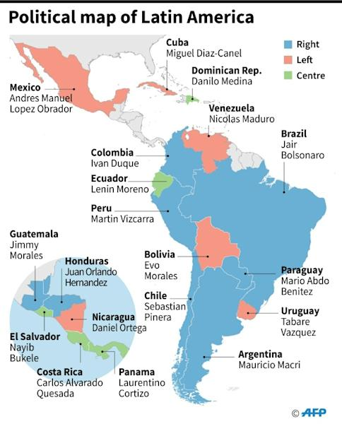 Political map of Latin America ahead of elections in Bolivia, Argentina and Uruguay (AFP Photo/Gustavo IZUS)