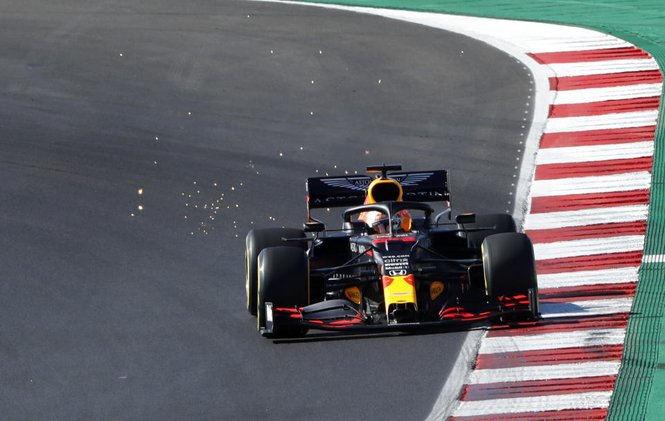 Red Bull driver Max Verstappen of the Netherlands steers his car during the third practice session prior to the Formula One Portuguese Grand Prix at the Algarve International Circuit in Portimao, Portugal, Saturday, Oct. 24, 2020. The Formula One Portuguese Grand Prix will take place on Sunday. (AP Photo/Armando Franca, Pool)