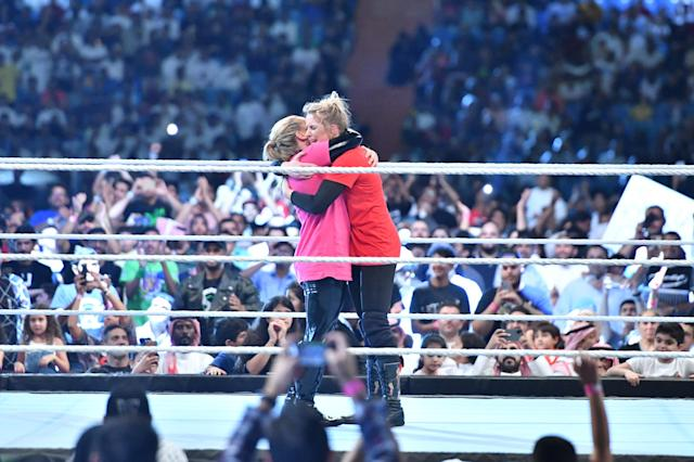 Natalya Neidhart and Lacey Evans participated in the first women's professional wrestling match in Saudi Arabia at WWE's 'Crown Jewel' event on Oct. 31, 2019 in Riyadh. (Photo courtesy of WWE)
