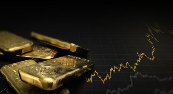 Several gold bars next to a gold- and silver-colored chart.
