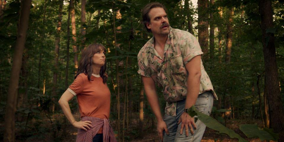 """<p>You can legit buy Hopper's iconic pink shirt (it's cutting-edge stuff, people) <a href=""""https://go.redirectingat.com?id=74968X1596630&url=https%3A%2F%2Fwww.hottopic.com%2Fproduct%2Fstranger-things-hopper-woven-button-up%2F11893695.html&sref=https%3A%2F%2Fwww.seventeen.com%2Fcelebrity%2Fmovies-tv%2Fg28354429%2Fdiy-stranger-things-halloween-costumes%2F"""" rel=""""nofollow noopener"""" target=""""_blank"""" data-ylk=""""slk:online at Hot Topic"""" class=""""link rapid-noclick-resp"""">online at Hot Topic</a>. So now, you just have to find a Joyce to nail this year's <a href=""""https://www.seventeen.com/fashion/a12176409/couples-halloween-costume-ideas/"""" rel=""""nofollow noopener"""" target=""""_blank"""" data-ylk=""""slk:couples costume"""" class=""""link rapid-noclick-resp"""">couples costume</a>. </p><p><strong>What you'll need: </strong><em>Stranger Things Hopper Button Down, $25, Spirit Halloween</em></p><p><a class=""""link rapid-noclick-resp"""" href=""""https://go.redirectingat.com?id=74968X1596630&url=https%3A%2F%2Fwww.spirithalloween.com%2Fproduct%2Fhopper-button-down-shirt-stranger-things%2F177792.uts&sref=https%3A%2F%2Fwww.seventeen.com%2Fcelebrity%2Fmovies-tv%2Fg28354429%2Fdiy-stranger-things-halloween-costumes%2F"""" rel=""""nofollow noopener"""" target=""""_blank"""" data-ylk=""""slk:SHOP NOW"""">SHOP NOW</a></p>"""