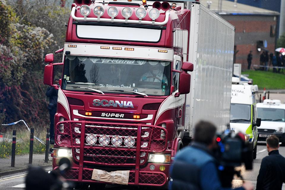 A lorry in which 39 bodies were discovered in the trailer in Thurrock, Essex (Picture: Getty)