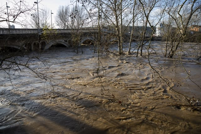 The river Ter is seen swollen after the torrential rain in Girona, Spain